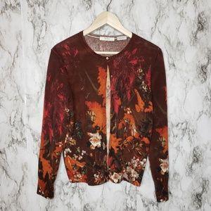 Neiman Marcus 100% Cashmere floral Cardigan Sz L